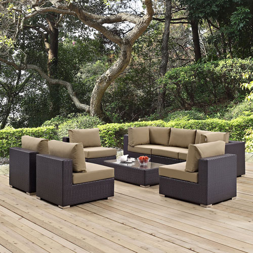 Modway Furniture Convene 8 Piece Outdoor Patio Sectional Set in Espresso Mocha
