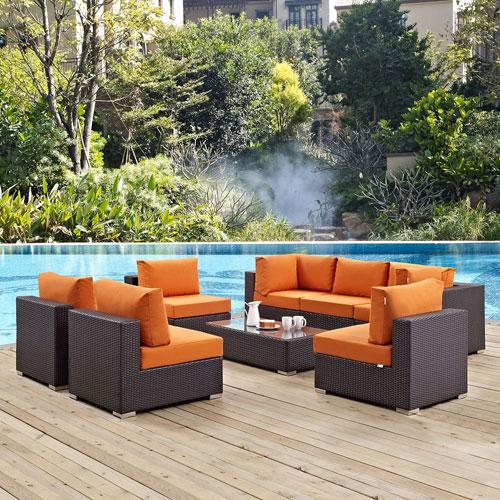 Modway Furniture Convene 8 Piece Outdoor Patio Sectional Set in Espresso Orange
