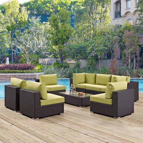Modway Furniture Convene 8 Piece Outdoor Patio Sectional Set in Espresso Peridot