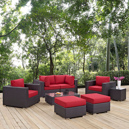 Modway Furniture Convene 8 Piece Outdoor Patio Sectional Set in Espresso Red