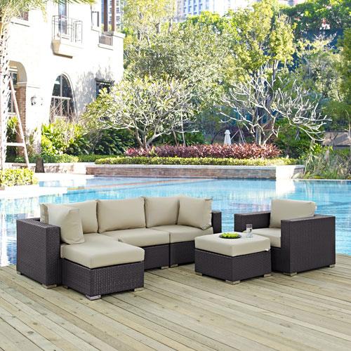 Modway Furniture Convene 6 Piece Outdoor Patio Sectional Set in Espresso Beige