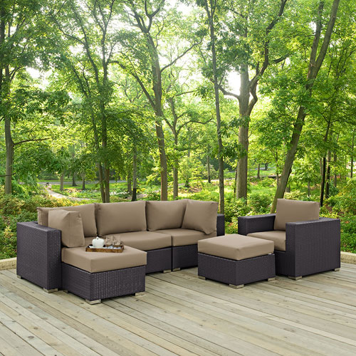 Modway Furniture Convene 6 Piece Outdoor Patio Sectional Set in Espresso Mocha