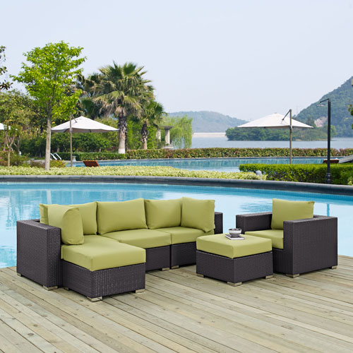 Modway Furniture Convene 6 Piece Outdoor Patio Sectional Set in Espresso Peridot