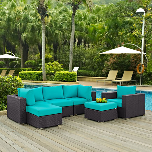 Modway Furniture Convene 6 Piece Outdoor Patio Sectional Set in Espresso Turquoise