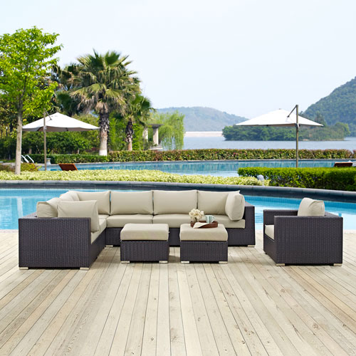 Modway Furniture Convene 9 Piece Outdoor Patio Sectional Set in Espresso Beige