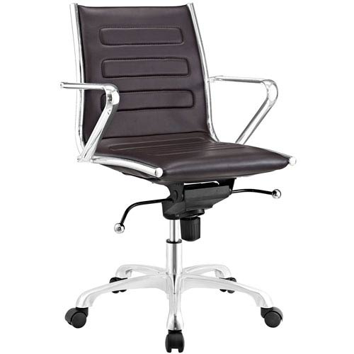Modway Furniture Ascend Mid Back Office Chair in Brown