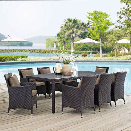9 piece outdoor dining set dining room modway furniture convene piece outdoor patio dining set in espresso mocha in