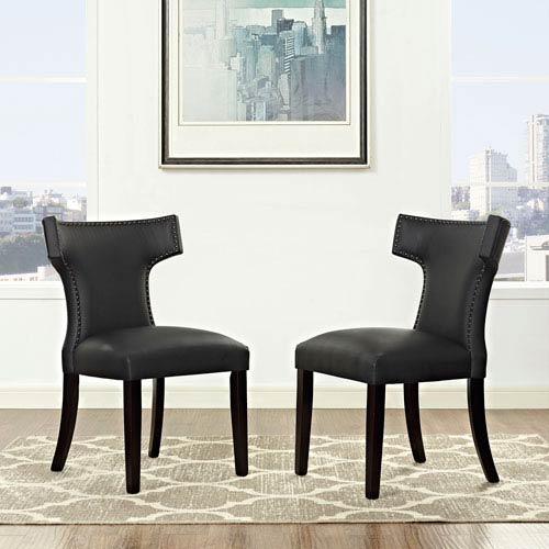 Curve Vinyl Dining Chair in Black