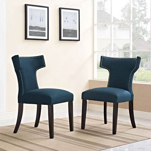 Modway Furniture Curve Fabric Dining Chair in Azure