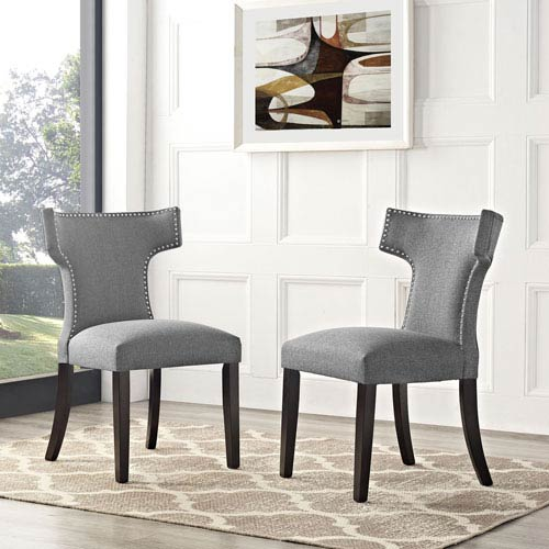 Modway Furniture Curve Fabric Dining Chair in Gray