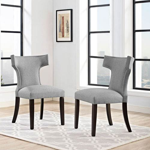 Modway Furniture Curve Fabric Dining Chair in Light Gray