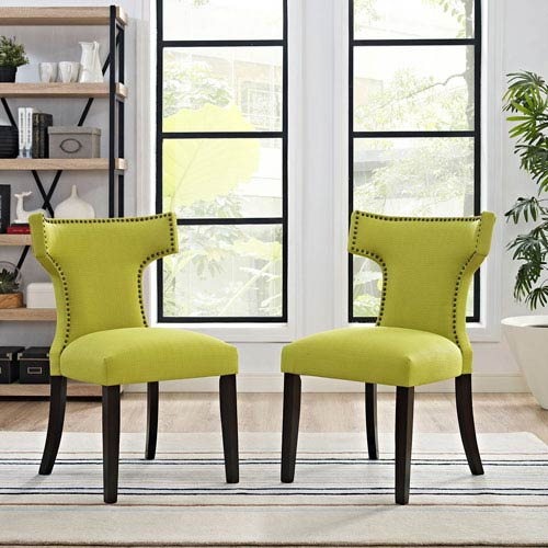 Curve Fabric Dining Chair in Wheatgrass