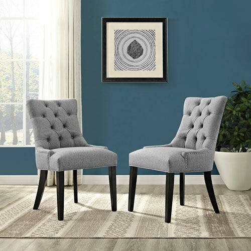 2eaa4034573 Modway Furniture Regent Fabric Dining Chair In Light Gray Eei 2223 ...