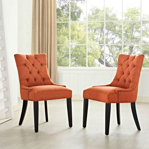 Regent Fabric Dining Chair in Orange