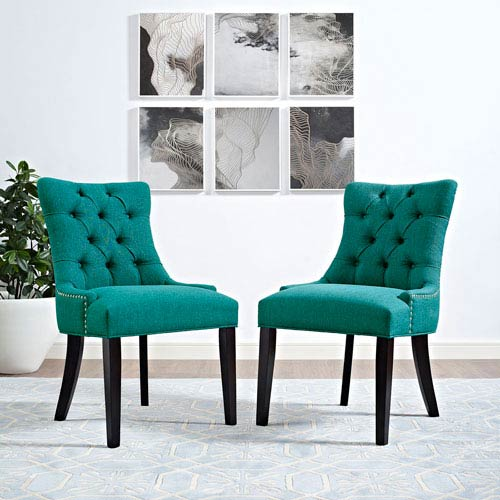 Modway Furniture Regent Fabric Dining Chair in Teal