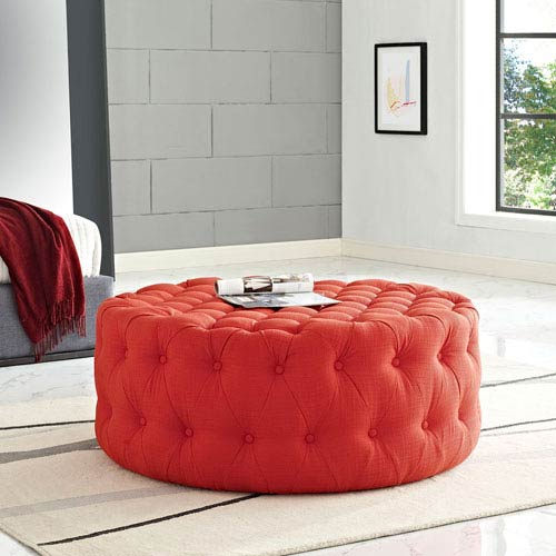 Amour Fabric Ottoman in Atomic Red