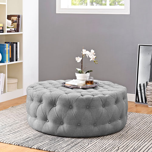 Amour Fabric Ottoman in Light Gray