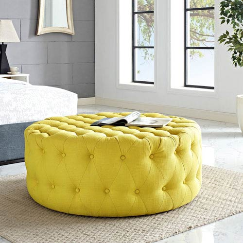 Amour Fabric Ottoman in Sunny