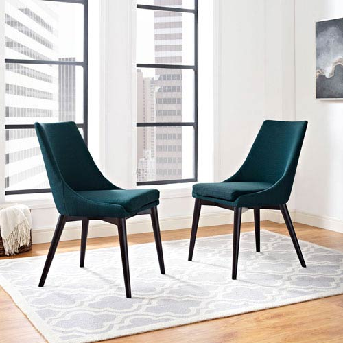 Modway Furniture Viscount Fabric Dining Chair In Azure