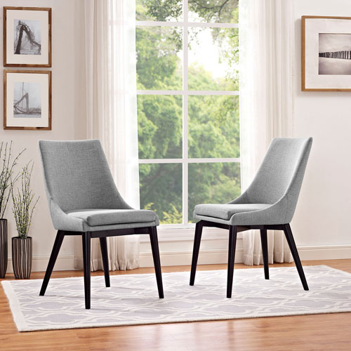 Viscount Fabric Dining Chair in Light Gray