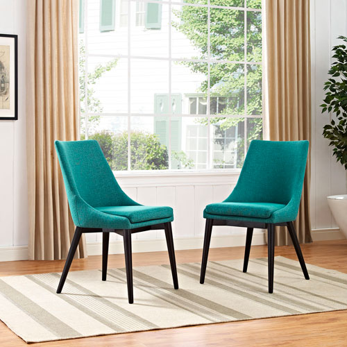 Viscount Fabric Dining Chair in Teal