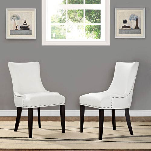 Modway Furniture Magnate Vinyl Dining Chair in White