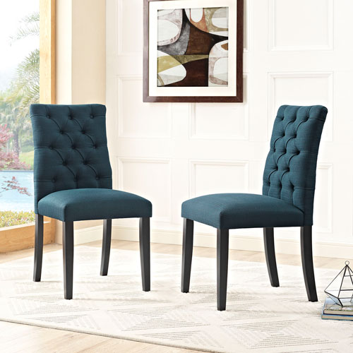 Modway Furniture Duchess Fabric Dining Chair in Azure