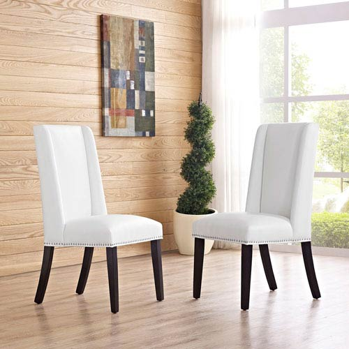 Modway Furniture Baron Vinyl Dining Chair in White