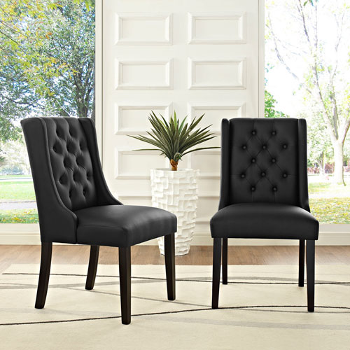 Modway Furniture Baronet Vinyl Dining Chair in Black