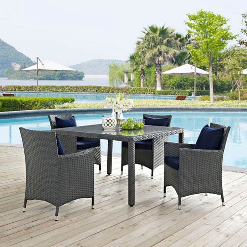 Sojourn 5 Piece Outdoor Patio Sunbrella® Dining Set in Canvas Navy