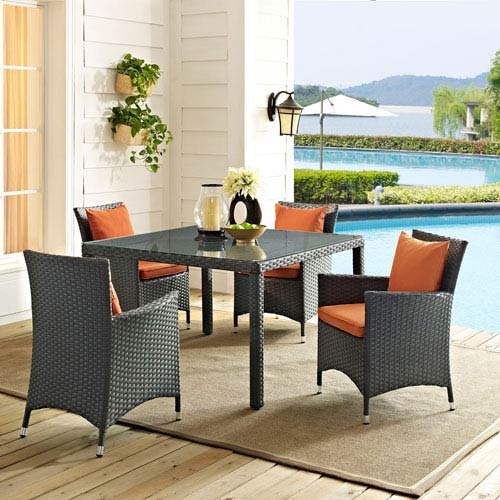 Sojourn 5 Piece Outdoor Patio Sunbrella® Dining Set in Canvas Tuscan