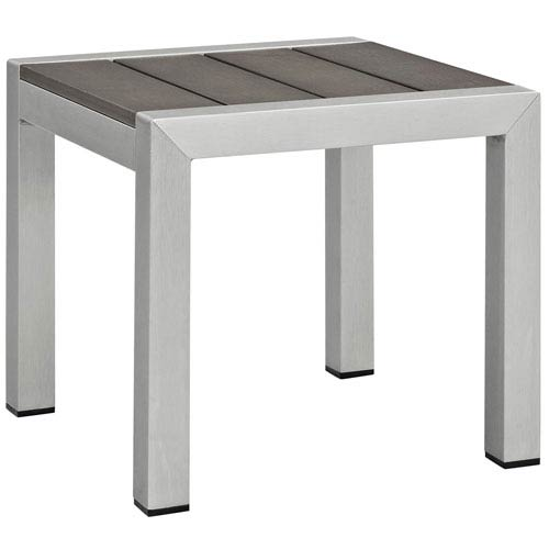 Modway Furniture Shore Outdoor Patio Aluminum Side Table in Silver Gray