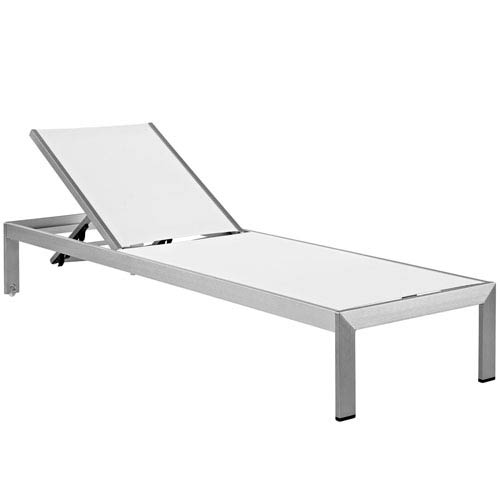 Modway Furniture Shore Outdoor Patio Aluminum Mesh Chaise in Silver White