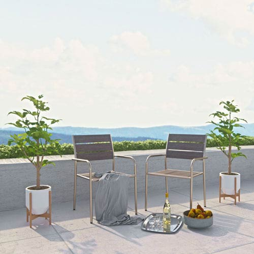 Modway Furniture Shore Outdoor Patio Aluminum Dining Chair in Silver Gray