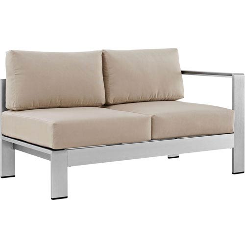 Modway Furniture Shore Right-Arm Corner Sectional Outdoor Patio Aluminum Loveseat in Silver Beige