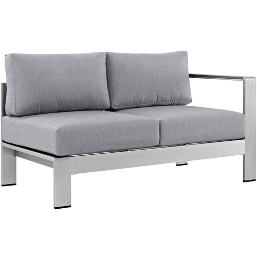 Modway Furniture Shore Right-Arm Corner Sectional Outdoor Patio Aluminum Loveseat in Silver Gray