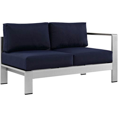 Modway Furniture Shore Right-Arm Corner Sectional Outdoor Patio Aluminum Loveseat in Silver Navy