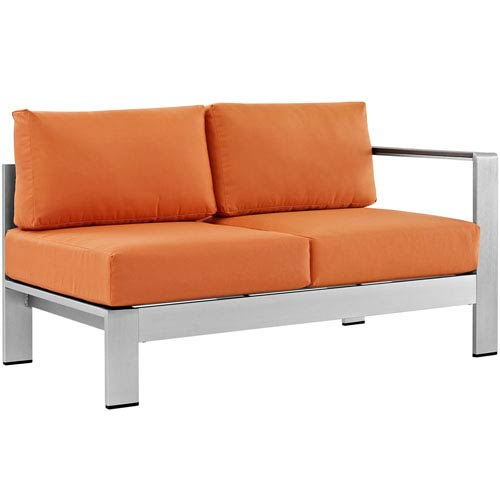 Modway Furniture Shore Right-Arm Corner Sectional Outdoor Patio Aluminum Loveseat in Silver Orange