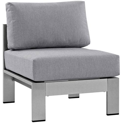 Shore Armless Outdoor Patio Aluminum Chair in Silver Gray