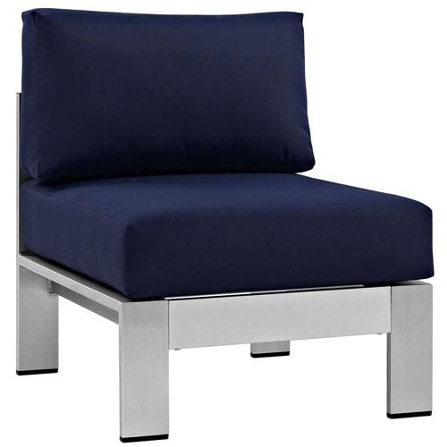 Shore Armless Outdoor Patio Aluminum Chair in Silver Navy