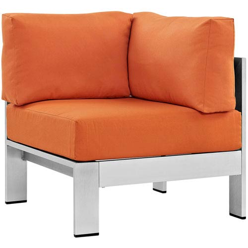 Modway Furniture Shore Outdoor Patio Aluminum Corner Sofa in Silver Orange