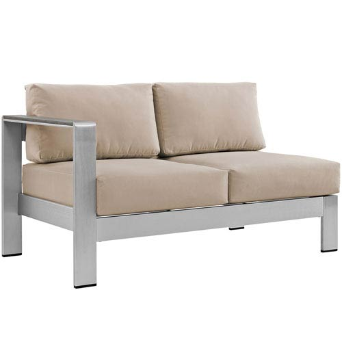Shore Left-Arm Corner Sectional Outdoor Patio Aluminum Loveseat in Silver Beige