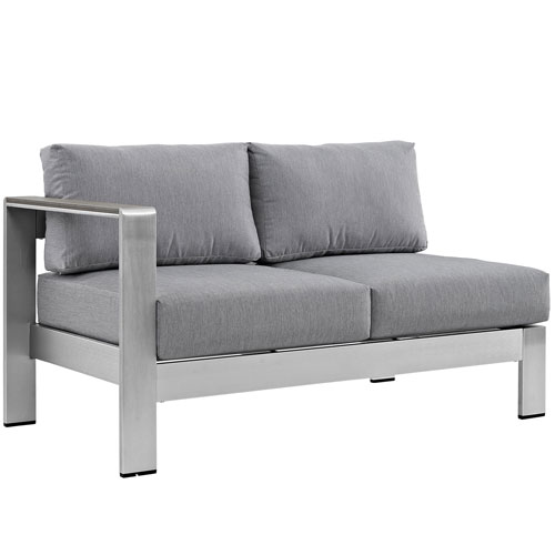 Modway Furniture Shore Left-Arm Corner Sectional Outdoor Patio Aluminum Loveseat in Silver Gray