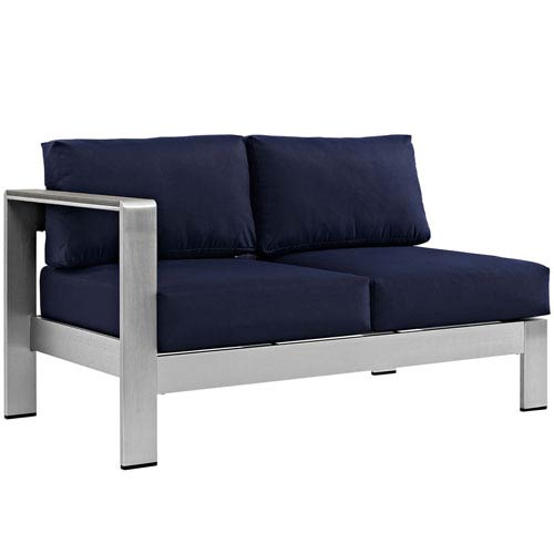 Modway Furniture Shore Left-Arm Corner Sectional Outdoor Patio Aluminum Loveseat in Silver Navy