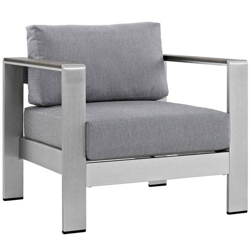 Modway Furniture Shore Outdoor Patio Aluminum Armchair in Silver Gray