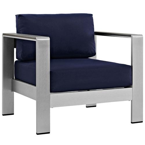 Shore Outdoor Patio Aluminum Armchair in Silver Navy