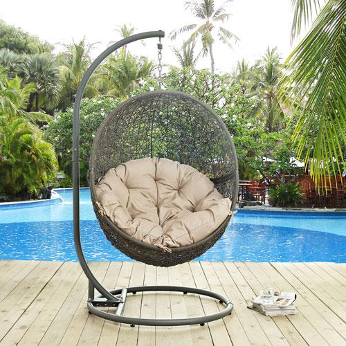 Hide Outdoor Patio Swing Chair In Gray Beige