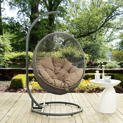 Modway Furniture Hide Outdoor Patio Swing Chair in Gray Mocha