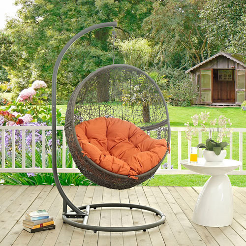 Modway Furniture Hide Outdoor Patio Swing Chair in Gray Orange & Modway Furniture Hide Outdoor Patio Swing Chair In Gray Orange Eei ...