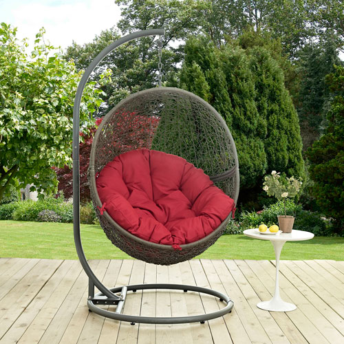 Modway Furniture Hide Outdoor Patio Swing Chair in Gray Red